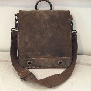 Vintage Brown Genuine Leather Suede Crossbody BOHO